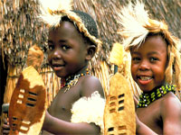 Zulu kids in traditional dress